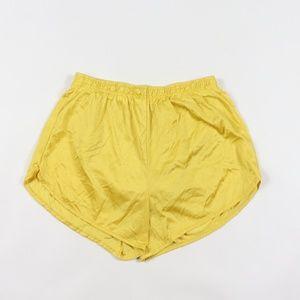 Vintage Silky Nylon Running Jogging Shorts Gold M